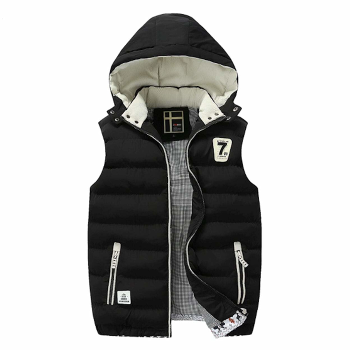 Men's Two Tone Hooded Winter Puffy Vest in Black