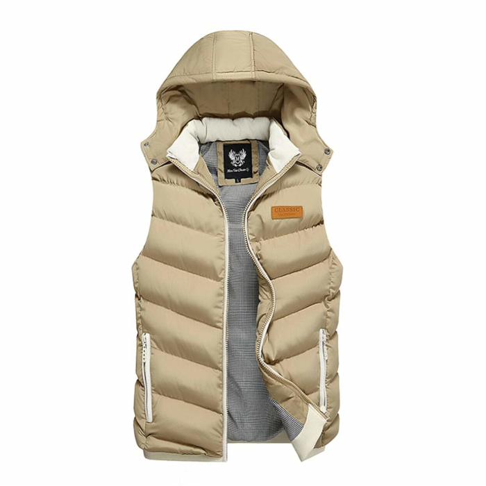 Men's Ultra Warm Winter Hooded Puffy Vest in Khaki