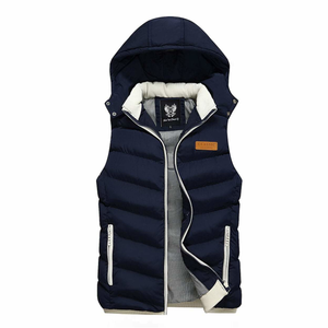 Men's Ultra Warm Winter Hooded Puffy Vest in Navy-ProductPro-Mercantile Americana