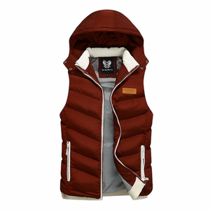 Men's Ultra Warm Winter Hooded Puffy Vest in Red-ProductPro-Mercantile Americana