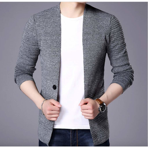 Men's V Neck Cardigan in Gray-ProductPro-Mercantile Americana