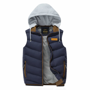 Men's Winter Puffy Vest with Removable Hood in Navy-ProductPro-Mercantile Americana