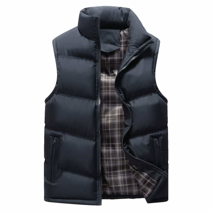 Men's Zip Up Navy Puffer Winter Vest