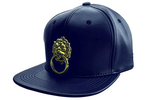 Navy Blue Faux Leather Snapback Hat-Eye Hunee-Mercantile Americana