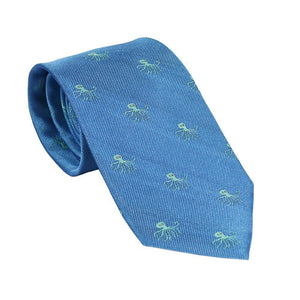 Octopus Necktie - Blue, Woven Silk-SummerTies-Mercantile Americana