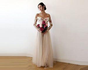 Off-Shoulder Floral And Champagne Tulle Dress With A Slit 1176-Blushfashion-Mercantile Americana