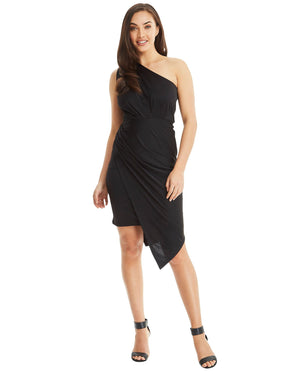 One Shoulder Asymmetrical Dress - Black-SKIVA-Mercantile Americana