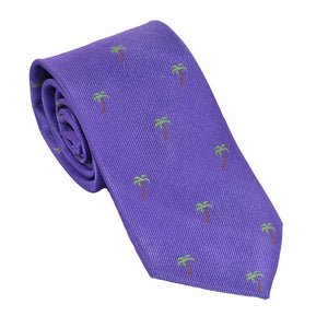 Palm Tree Necktie - Purple, Woven Silk-SummerTies-Mercantile Americana