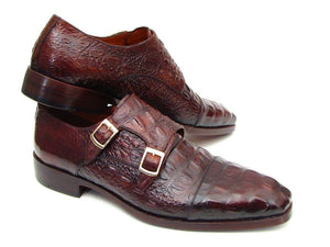 Paul Parkman Double Monkstraps Brown & Bordeaux Crocodile Embossed Calfskin (ID#045FG12)-Paul Parkman Handmade Shoes-Mercantile Americana