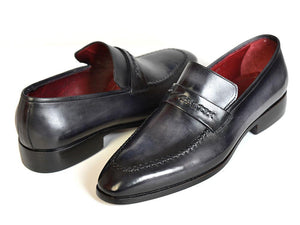 Paul Parkman Gray & Black Men's Loafers For Men (ID#068-GRAY)-Paul Parkman Handmade Shoes-Mercantile Americana