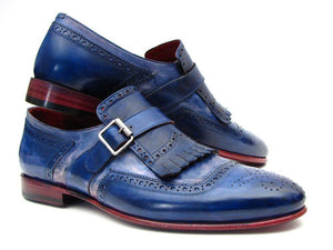 Paul Parkman Kiltie Monkstrap Shoes Dual Tone Blue Leather (ID#12BL78)-Paul Parkman Handmade Shoes-Mercantile Americana