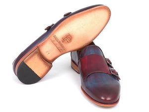 Paul Parkman Men's Bordeaux & Navy Double Monkstrap Shoes (ID#HR65CX)-Paul Parkman Handmade Shoes-Mercantile Americana