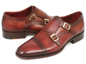 Paul Parkman Men's Cap-Toe Double Monkstraps Camel & Light Brown (ID#0457-CML)-Paul Parkman Handmade Shoes-Mercantile Americana