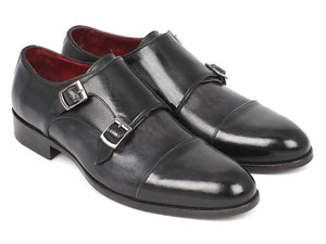 Paul Parkman Men's Cap-Toe Double Monkstraps Gray & Black (ID#0457-GRY)-Paul Parkman Handmade Shoes-Mercantile Americana