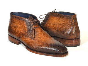 Paul Parkman Men's Chukka Boots Brown & Camel (ID#FG55-CML)-Paul Parkman Handmade Shoes-Mercantile Americana