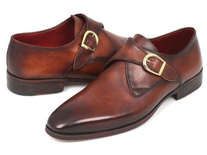 Paul Parkman Men's Monkstrap Dress Shoes Brown & Camel (ID#011B44)-Paul Parkman Handmade Shoes-Mercantile Americana