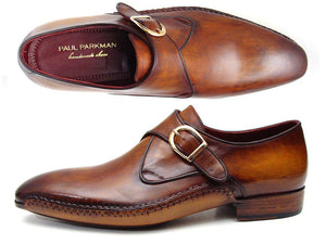 Paul Parkman Men's Single Monkstraps Brown Leather (ID#69V5E)-Paul Parkman Handmade Shoes-Mercantile Americana