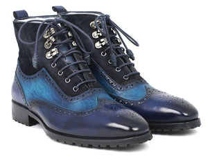 Paul Parkman Men's Wingtip Boots Blue Suede & Leather (ID#971-BLU)-Paul Parkman Handmade Shoes-Mercantile Americana