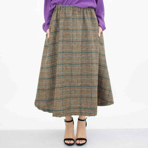 Plaid Flare Midi Skirt With Side Pockets - Blue-Stylespect-Mercantile Americana