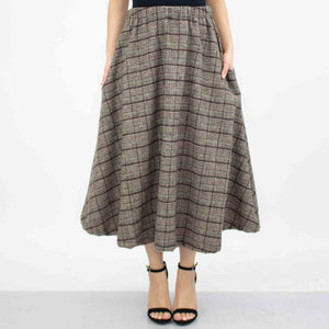 Plaid Flare Midi Skirt With Side Pockets - Brown-Stylespect-Mercantile Americana