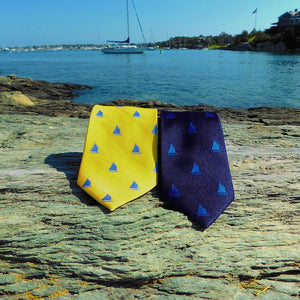Sailboat Necktie - Yellow, Woven Silk-SummerTies-Mercantile Americana
