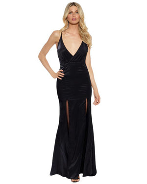 Satin Evening Dress with Front Splits - Black-SKIVA-Mercantile Americana