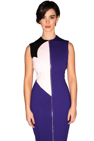 Sleeveless Front Zipper Color Blocked Fitted Sheath Dress-RyMcKELL-Mercantile Americana