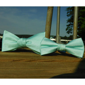 Solid Color Bow Tie - Light Green, Woven Silk, Kids Pre-Tied-SummerTies-Mercantile Americana