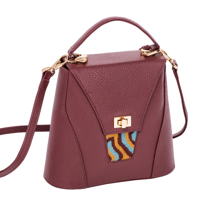 TATI BODUCH Designer Handbag, AGATE Mini Collection, genuine leather: brown, knitwear: turquoise