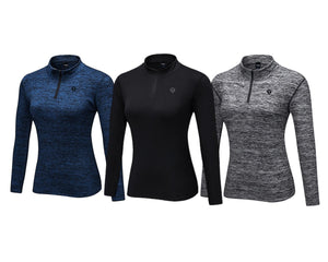 THEUS Sleek Fit Women's Long Sleeve Sports 1/4 Zip Pullover Shirt-THEUS-Mercantile Americana