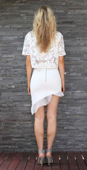 TING-A-LING Asymmetrical Skirt - White-MOO LAB-Mercantile Americana
