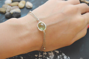 White gold double layered peridot bracelet-BellaJoo Jewelry-Mercantile Americana