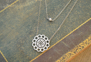 White gold double strand lace necklace-BellaJoo Jewelry-Mercantile Americana