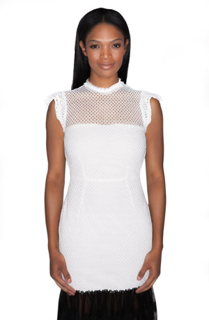 White Lace Dress with Black Trim Flounced Hem-RyMcKELL-Mercantile Americana