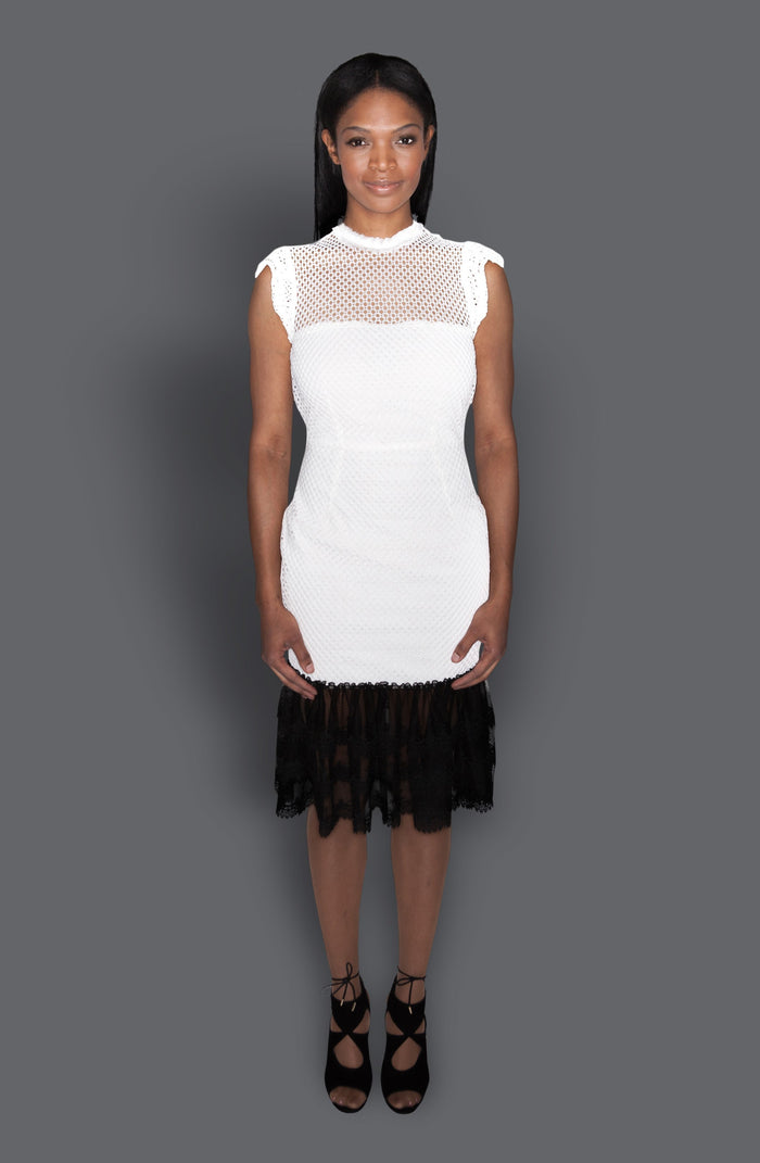 White Lace Dress with Black Trim Flounced Hem