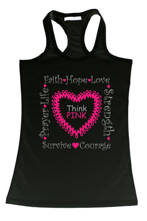 Women's Tank Top Breast Cancer Awareness Think-Sunflower-Mercantile Americana