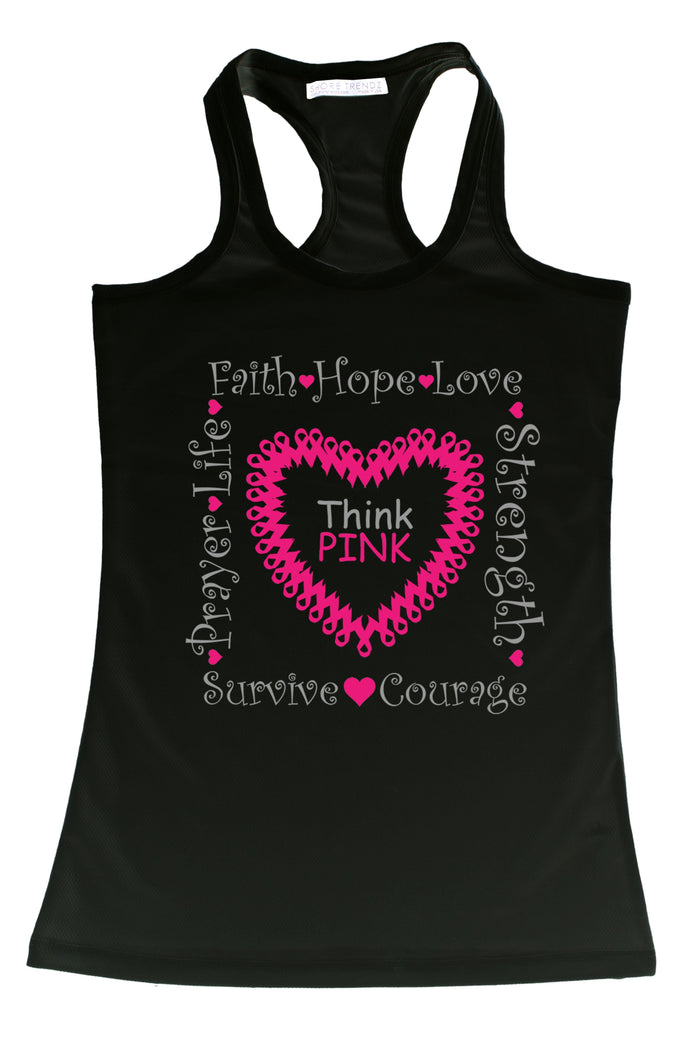 Women's Tank Top Breast Cancer Awareness Think
