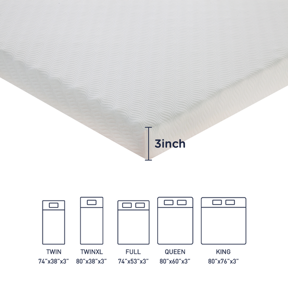 dimensions of memory foam topper