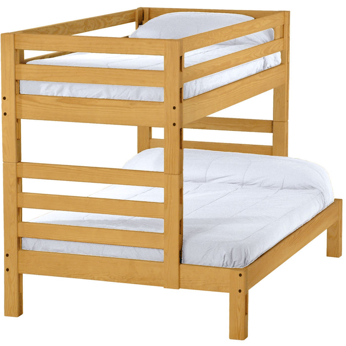 Ladder end bunk bed. Twin over full, cutaway.