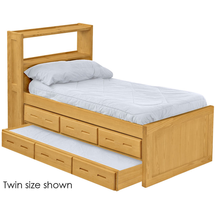 Captain's bookcase bed with drawers and trundle bed. Twin size