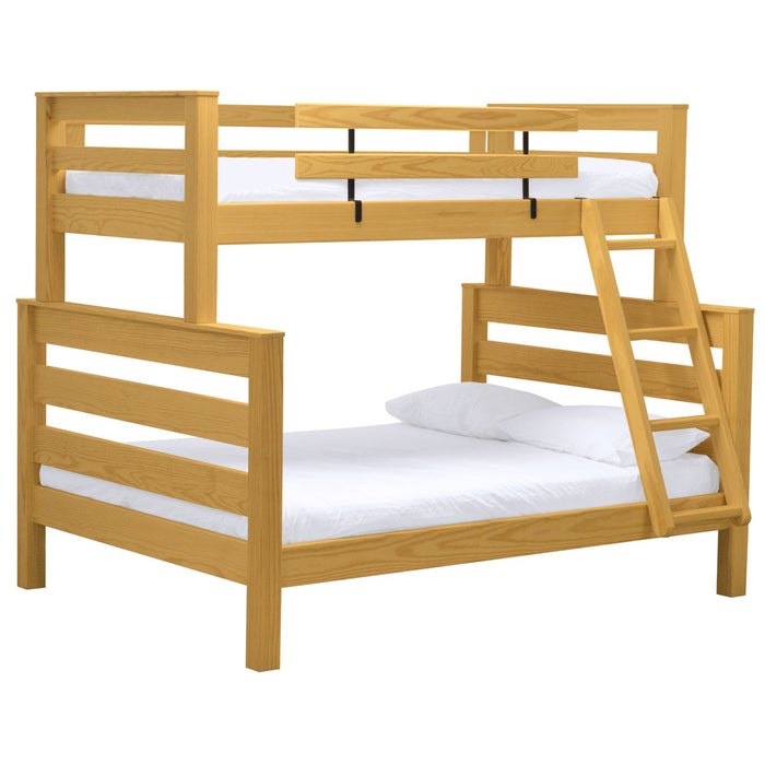 TimberFrame bunk bed. TwinXL over queen, offset.