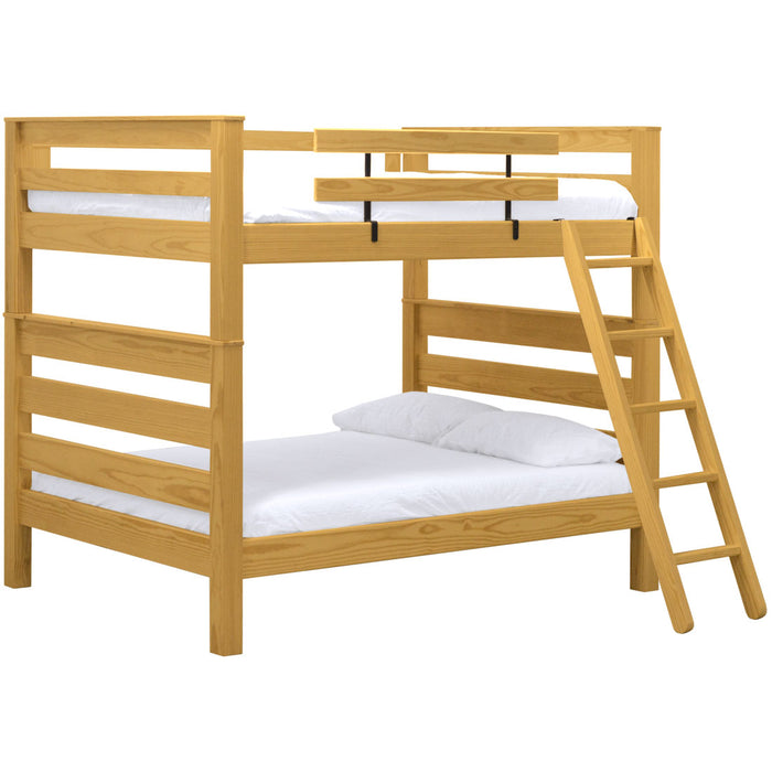 TimberFrame Bunk Bed. Queen Over Queen With Ladder.