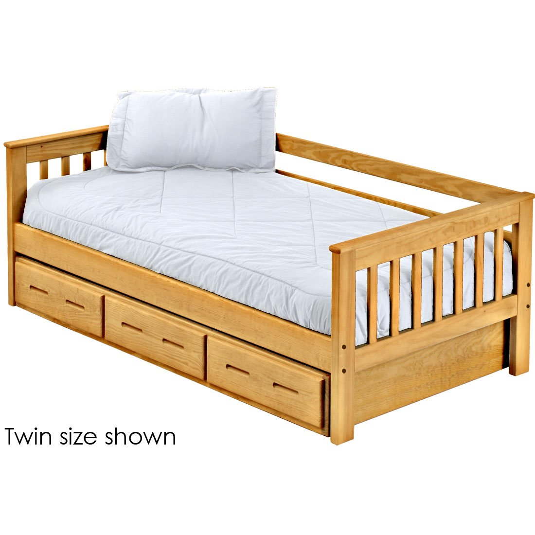 Picture of: Mission Day Bed With Trundle 29in High Queen Size Crate Designs Furniture