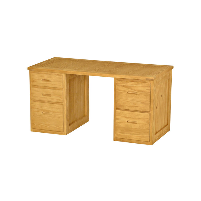 Desk, 58in wide, 3 drawers left side, 2 drawers right side
