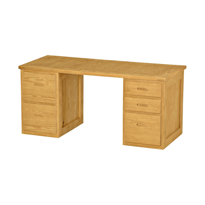 Desk, 66in wide, 2 drawers left side, 3 drawers right side