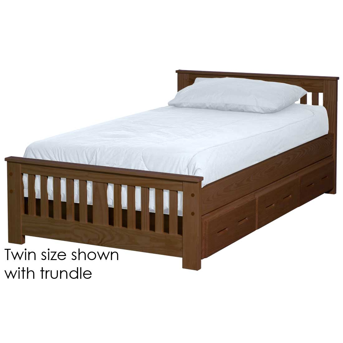 Image of: Shaker Bed 29in Headboard 18in Footboard Twin Size Crate Designs Furniture