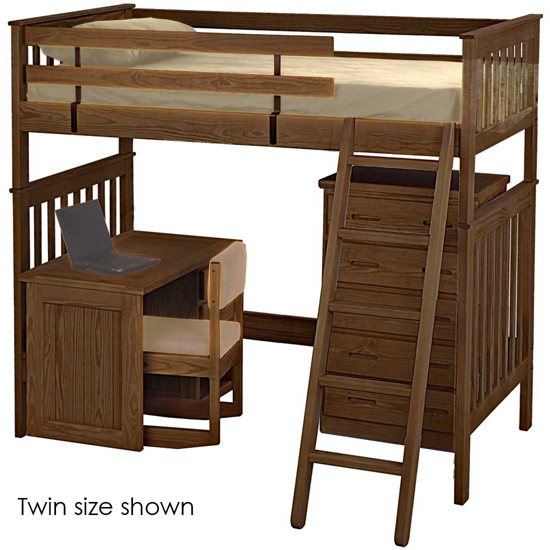 Mission Loft Bed Queen Size Crate Designs Furniture