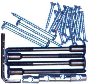 Bookcase bed hardware kit. 100mm connector bolts.