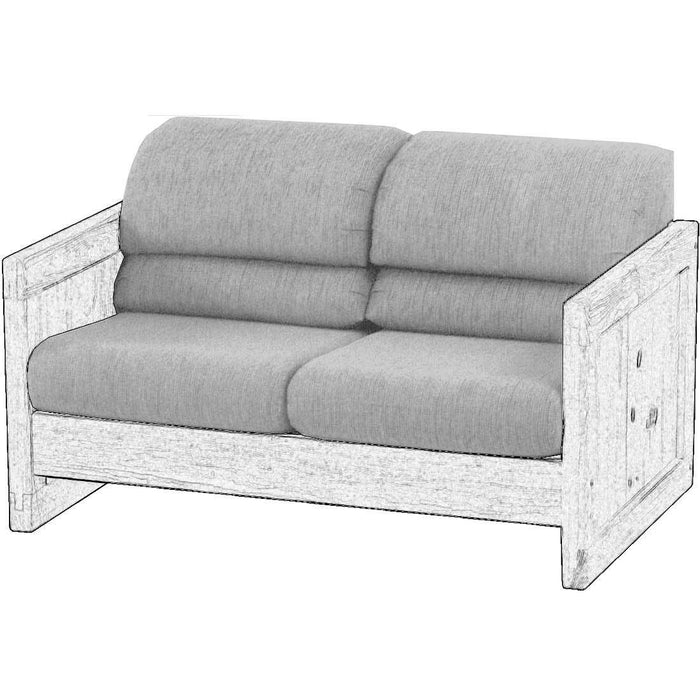 Upholstered components for Loveseat, regular 52in, attached back cushions - Foundation fabric
