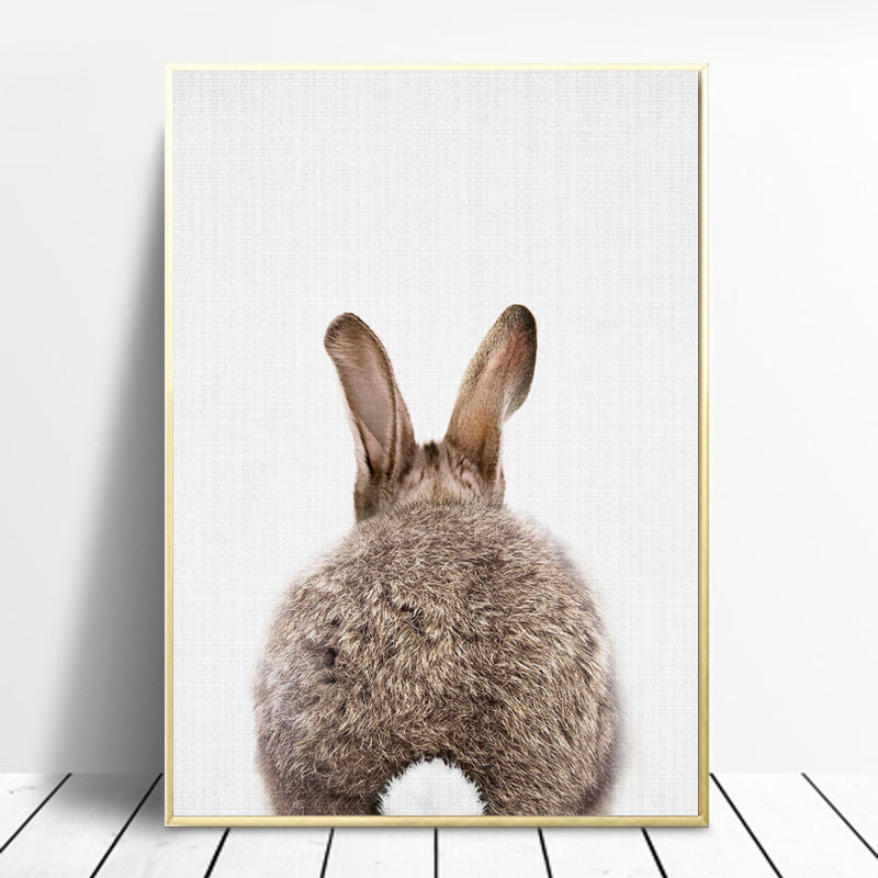 Nordic-Lovely-Bunny-Canvas-Painting-Cute-Animal-Artwork-Home-Decor